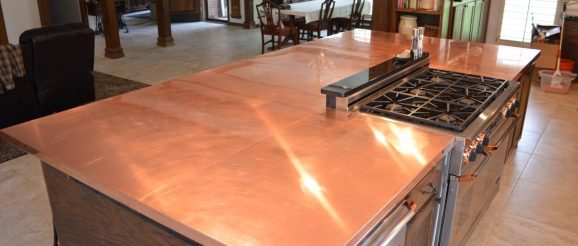 Example of a copper countertop by Redland Sheetmetal.